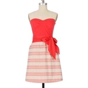 Maeve Anthropologie Coral Lace Strapless Dress